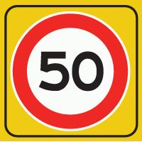 A1 Maximumsnelheid 50 km/h op reflecterend schild