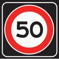 A1 Maximumsnelheid 50 km/h op zwart schild