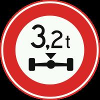 C20 Gesloten voor voertuigen waarvan de aslast hoger is dan op het bord is aangegeven