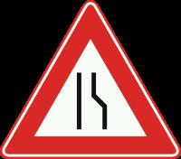J18 Rijbaanversmalling rechts