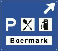 K3 Beslissingswegwijzer langs autosnelweg naar een verzorgingsplaats met naam en symbolen