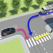 Verkeerssituatie met lesauto, tram en voetganger